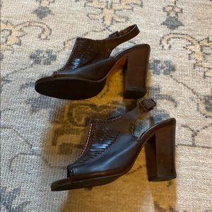 Dark brown frye hurrache heels size 7.5